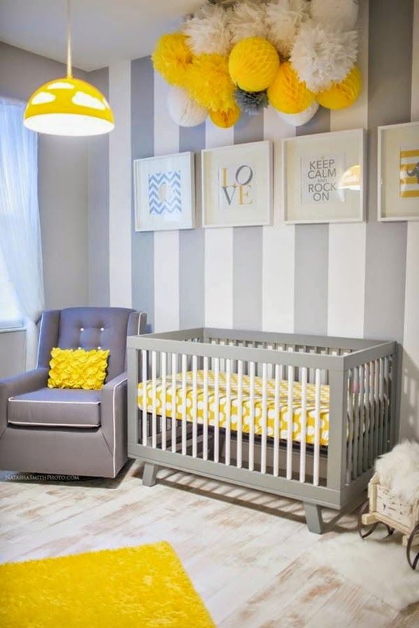 dormitorio bebé amarillo gris