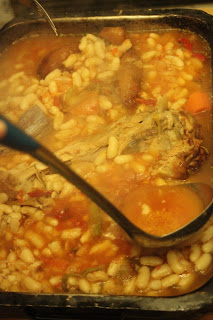 Traditional cassoulet recipe adding stock
