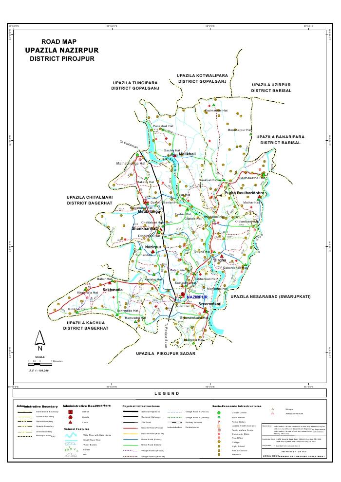 Nazirpur Upazila Road Map Pirojpur District Bangladesh