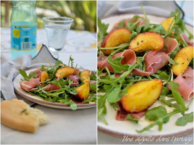 Salade aux pêches et jambon cru, à la fleur d'oranger, d'Ottolenghi