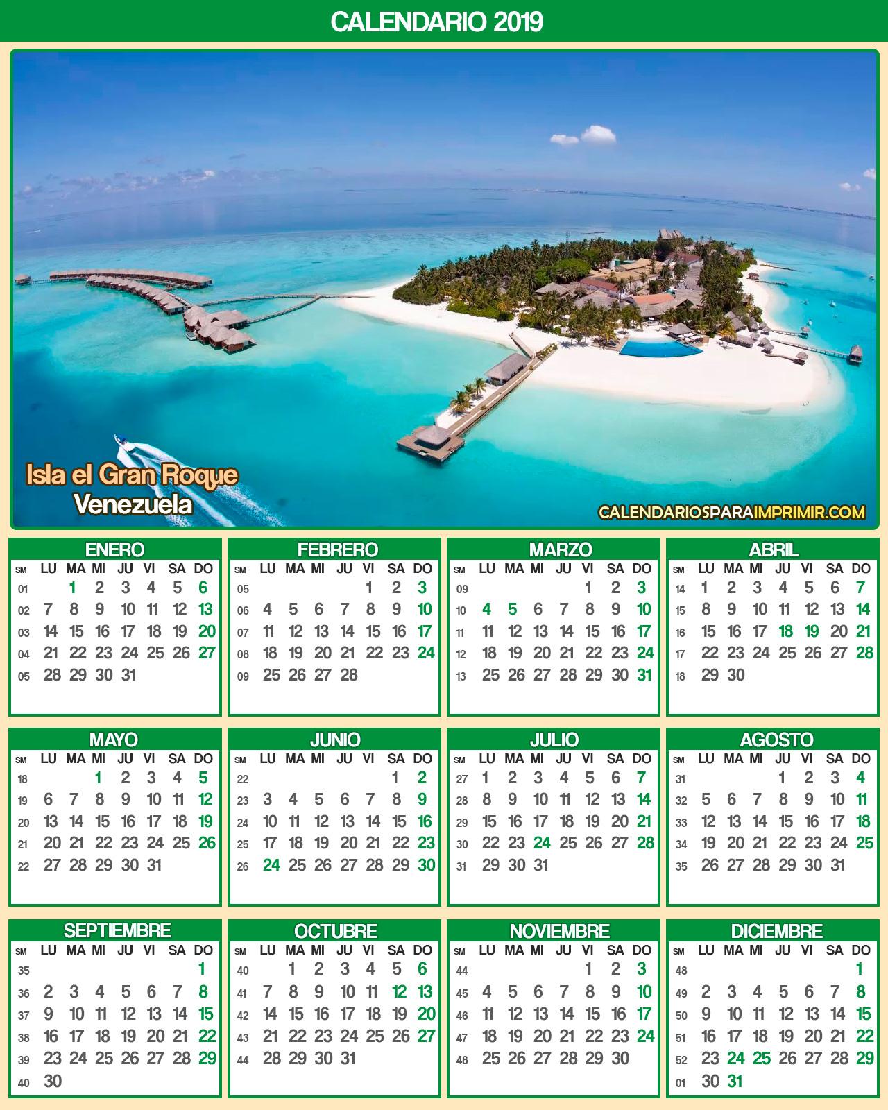 calendario venezuela 2019