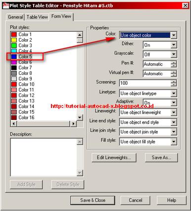 Prinsip Cara Membuat Plot Style (Pen Assignments) AutoCAD | Tutorial