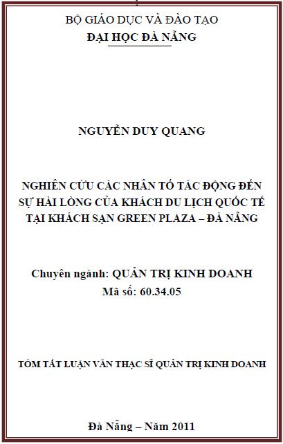 Nghiên cứu các nhân tố tác động đến sự hài lòng của khách du lịch quốc tế tại khách sạn Green Plaza - Đà Nẵng