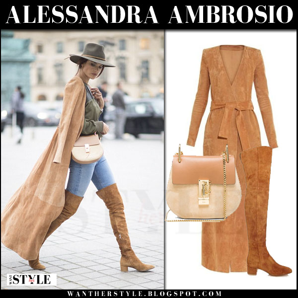 Alessandra Ambrosio in camel suede balmain coat and suede boots what she wore pfw streetstyle