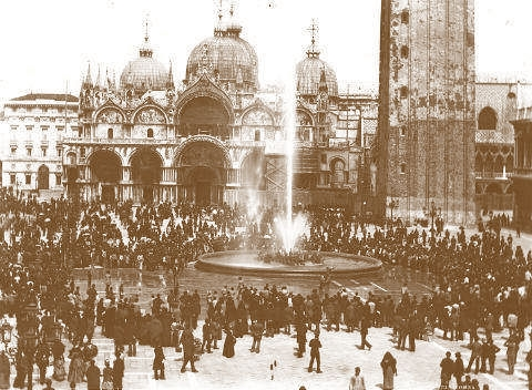 Old photograph showing a fountain in the Piazza San Marco, Venice