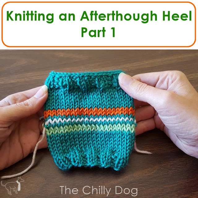 Marking the placement of an afterthought heel in knit socks.