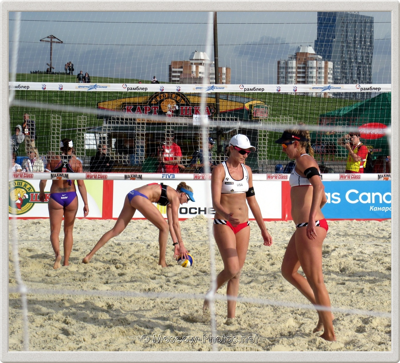 U.S. Team vs U.S. Team. Left to right -  Misty May-Treanor, Kerri Walsh, Jennifer Kessy, April Ross