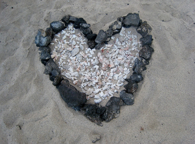 beach heart made of stones