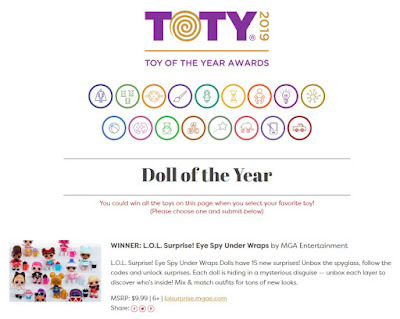 L.O.L. Surprise Under Wraps 2019 TOTY awards winner