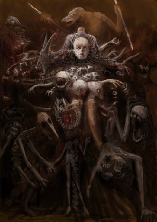 Delic Saike deviantart artstation arte ilustrações sombrias terror infernal hp lovecraft hr giger