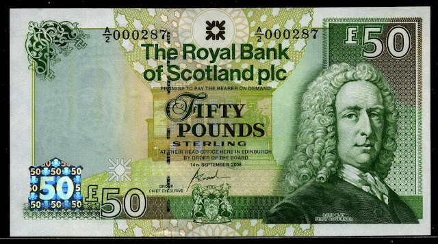 Royal Bank of Scotland bank notes currency Fifty Pounds Sterling banknote