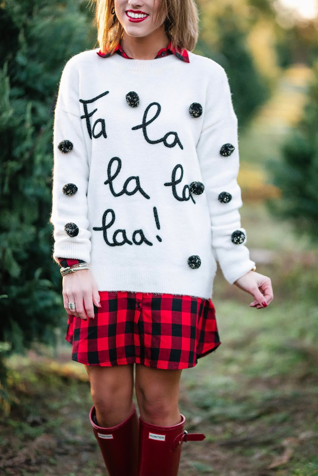 Buffalo Plaid Dress, Fa La La La Sweater & Hunter Boots + Gift Guide for the Pet Lovers - Something Delightful Blog