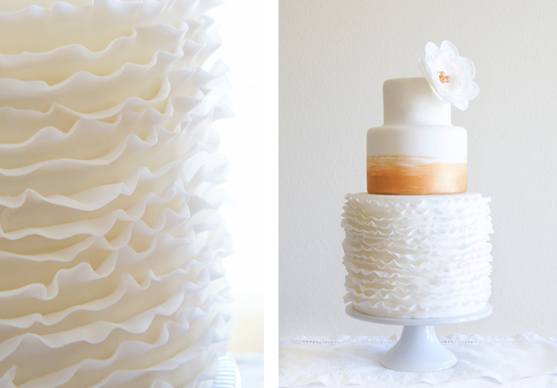 DIY wedding cake with vintage gold paint, ruffles and easy sugar flowers by Sugary & Buttery