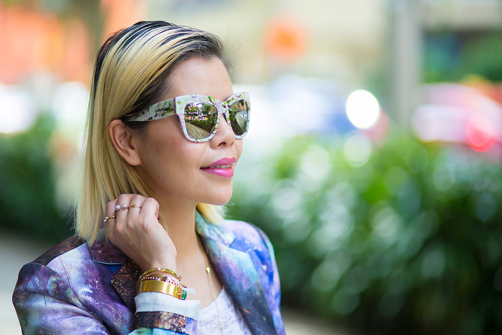 Crystal Phuong- Going green with printed blazer and Dolce & Gabbana sunglasses