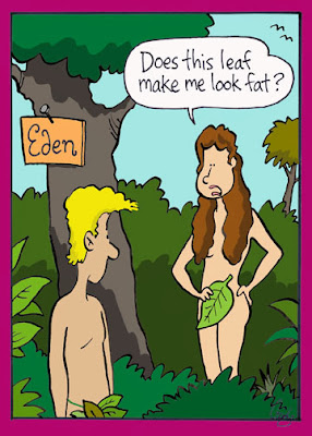 Adam and Eve in the Garden of Eden - Does this leaf make me look fat?