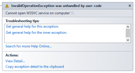 IIS Cannot Open W3SVC Service on Computer ' '  Access Denied