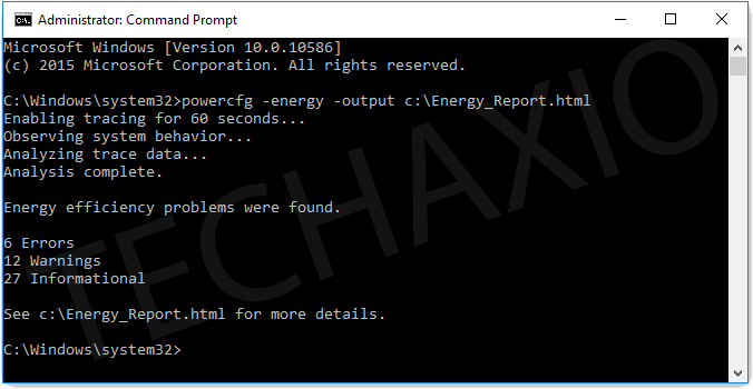 power efficiency report command