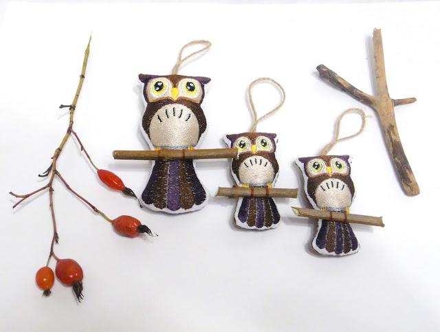 Елочные игрушки: сова большая и две маленькие совы - дизайнерские елочные украшения, доставка почтой или курьером