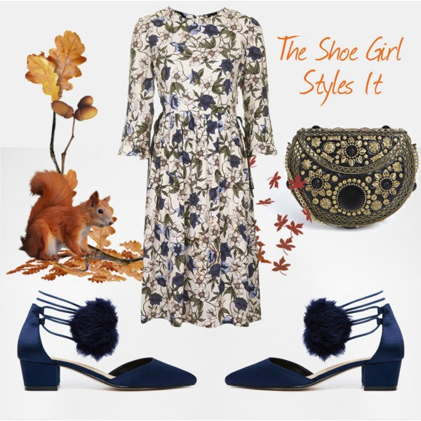 Polyvore outfit set containing asos satin pom pom shoes and floral dress