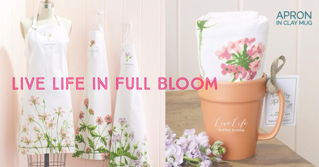 Live Life in Full Bloom Apron and Mug | Valentine's Day Gift Guide | LaBelle's General Store