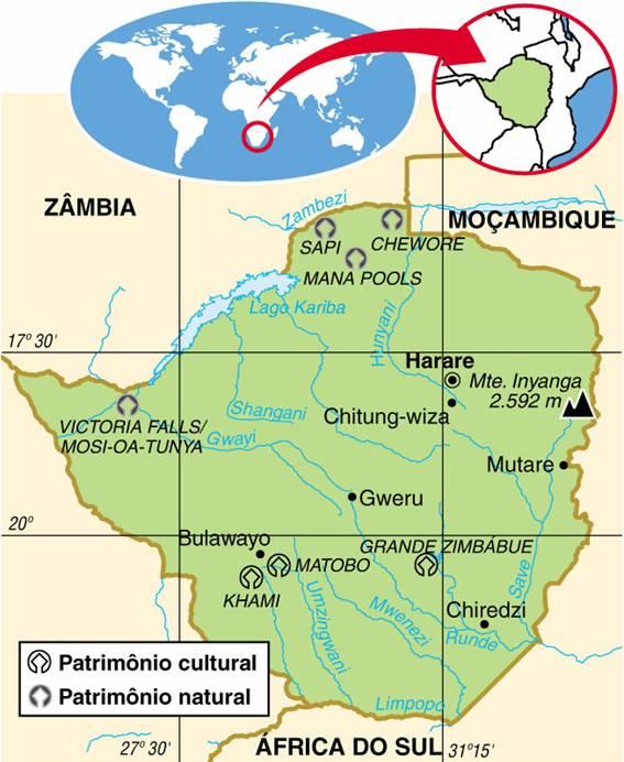 Zimbabwe | Aspectos Geográficos do Zimbabwe