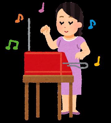テルミンを演奏する人のイラスト(女性)