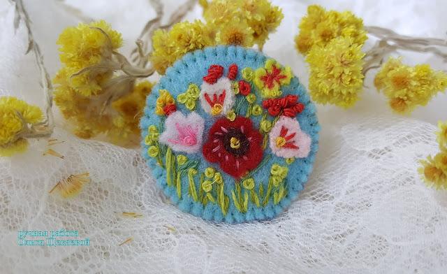 броши из фетра, цветы