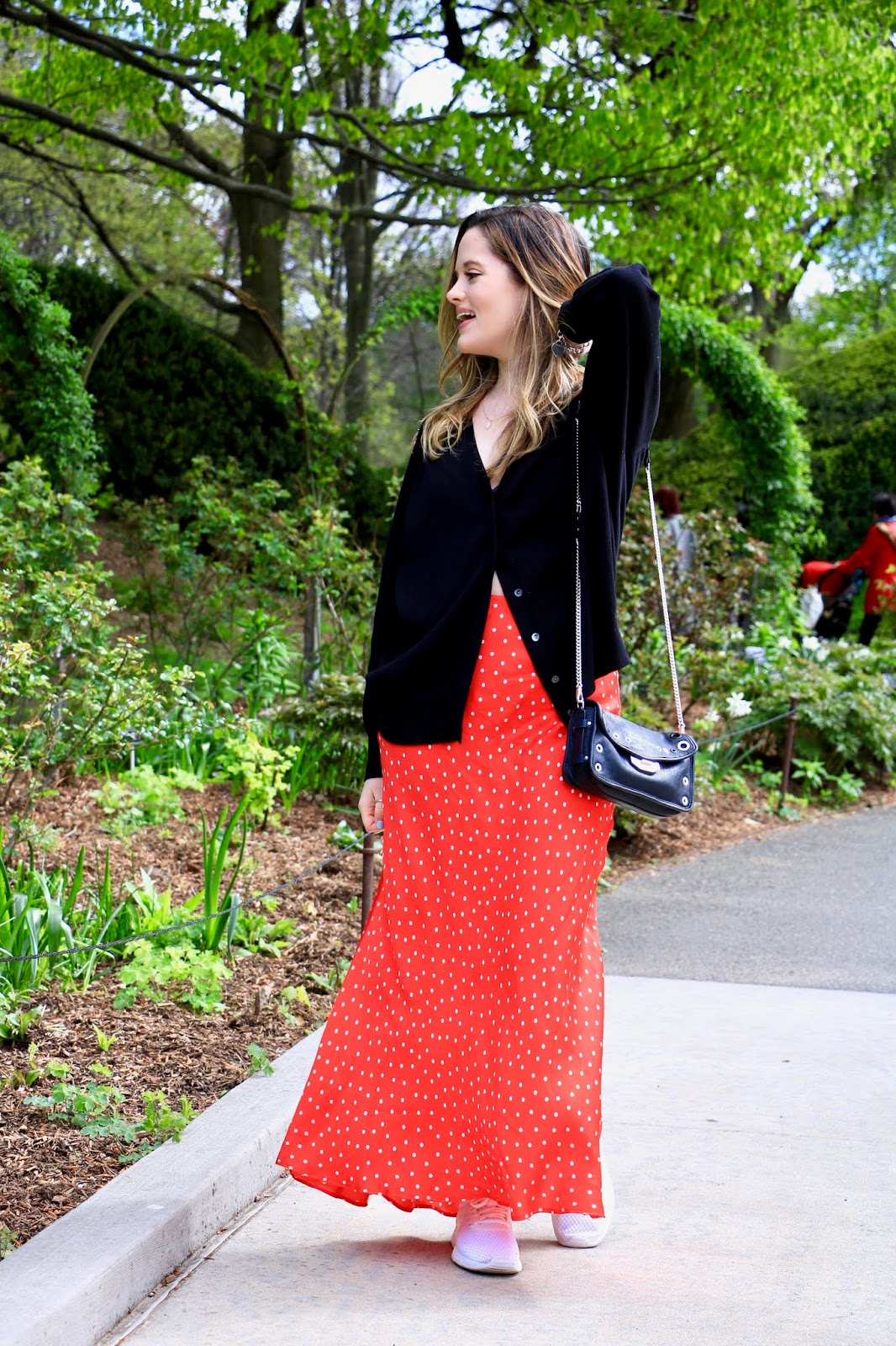 Nyc fashion blogger Kathleen Harper's silk maxi skirt outfit idea