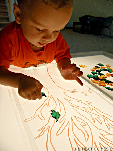 Fall leaf preschool activity on the light table