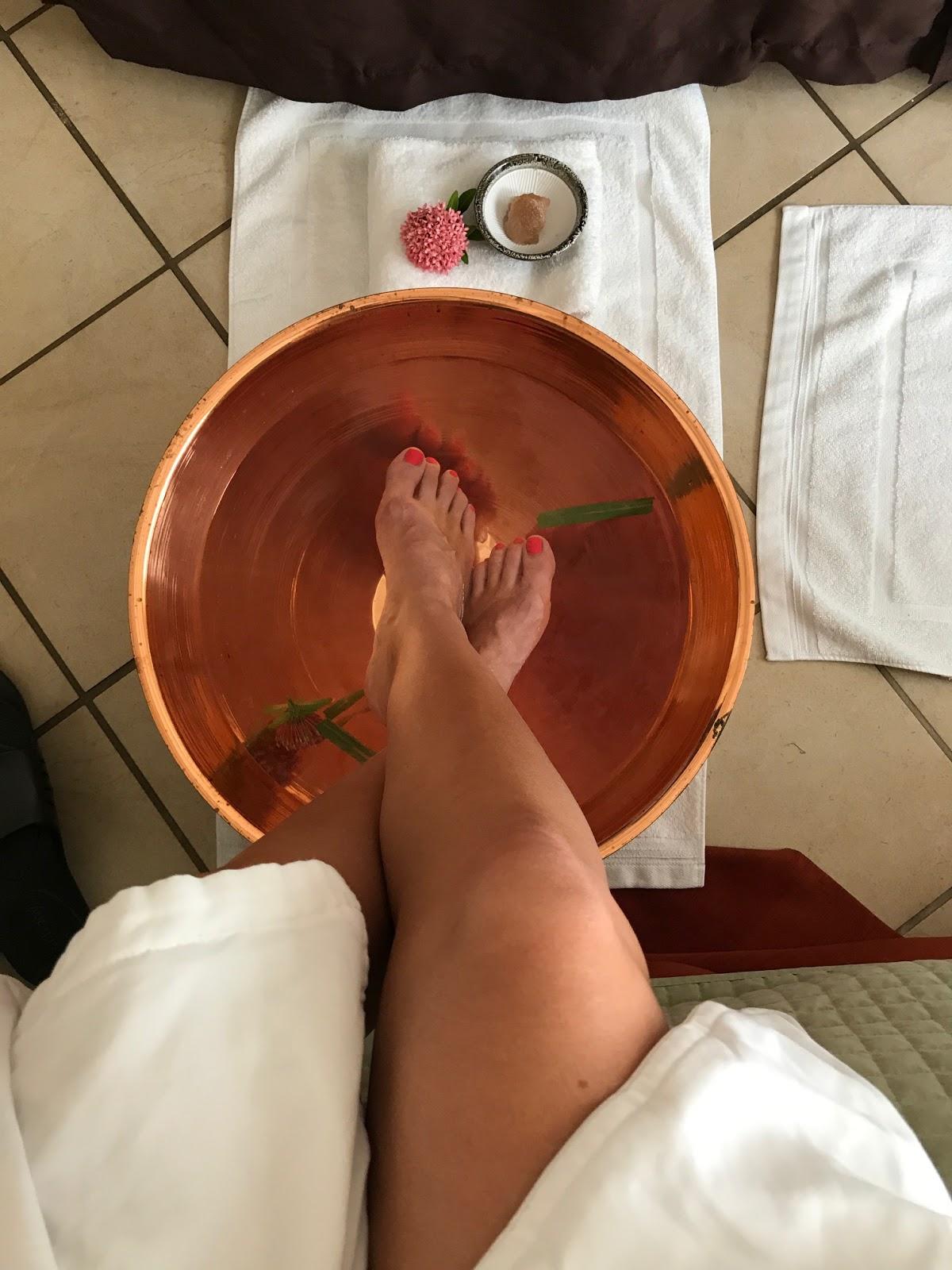 the foot soak ritual during the Nevisian massage