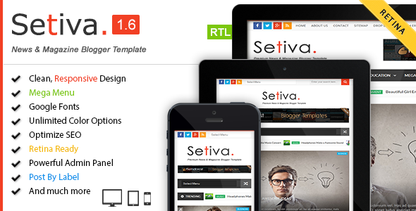 Share Template Setiva v1.6 Resposive Magazine Blogger Theme