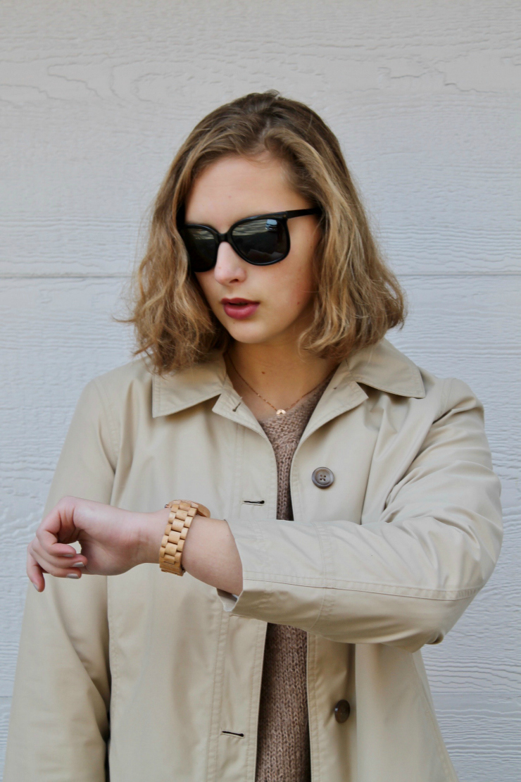 trench coat and JORD wooden watch