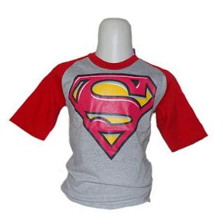 Kaos Raglan Anak Karakter Superman Abu-Abu