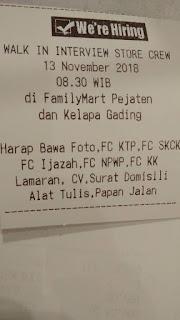 Lowongan kerja di Family Mart Pejaten dan Kelapa gading Jakarta Hingga 13 November 2018