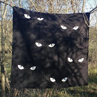 Glow in the Dark Spooky Eyes Halloween Quilt