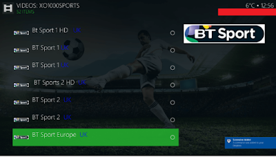 BT Sports streaming on Champion sports kodi