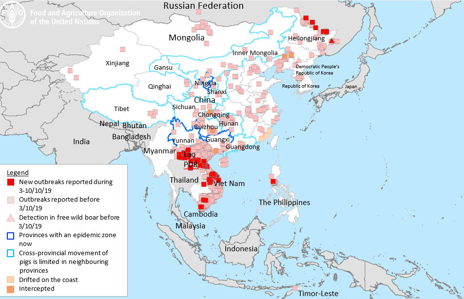 UN FAO Map: ASF situation in Asia (August 2018 to 3 October 2019)