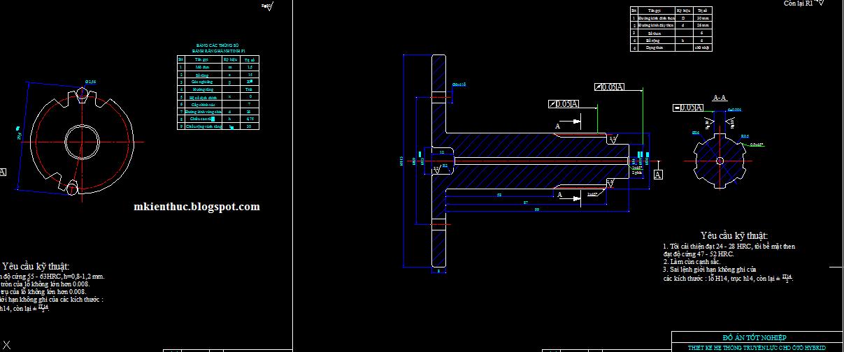 Bản vẽ hệ thống truyền lực cho xe hybrid: