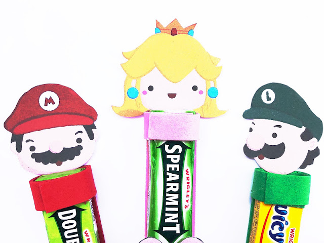 Use this printable to make some unique and fun party favors for your Super Mario birthday party. These gum party favors are unique and feature your favorite characters from the Mario video games. The gum heads include Mario, Luigi, Princess Peach, Yoshi, Goomba, and Koopa Troop