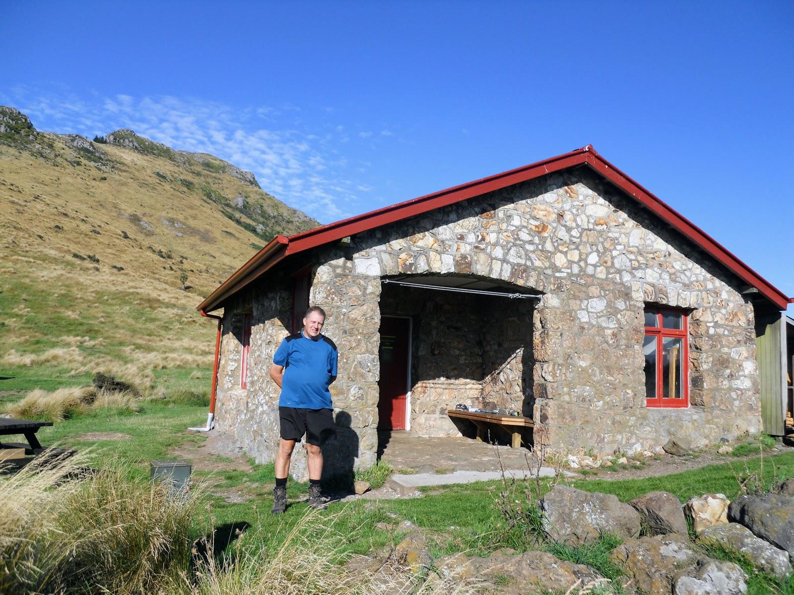 jon outside packhorse hut on the saturday