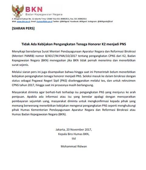 BKN: Tidak Ada Kebijakan Pengangkatan Tenaga Honorer K2 Menjadi PNS