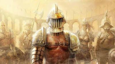 Imagen de cinco gladiadores romanos, una mujer, listos para prestar batalla.