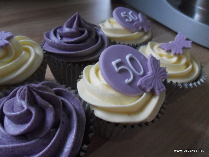 Purple And Ivory 50th Birthday Cupcakes