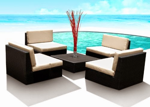 Outdoor Patio Furniture Wicker Sofa Sectional 5pc Resin Couch Set
