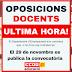 29 de novembre: Publicació convocatòria oposicions docents (Si no hi ha contratemps)