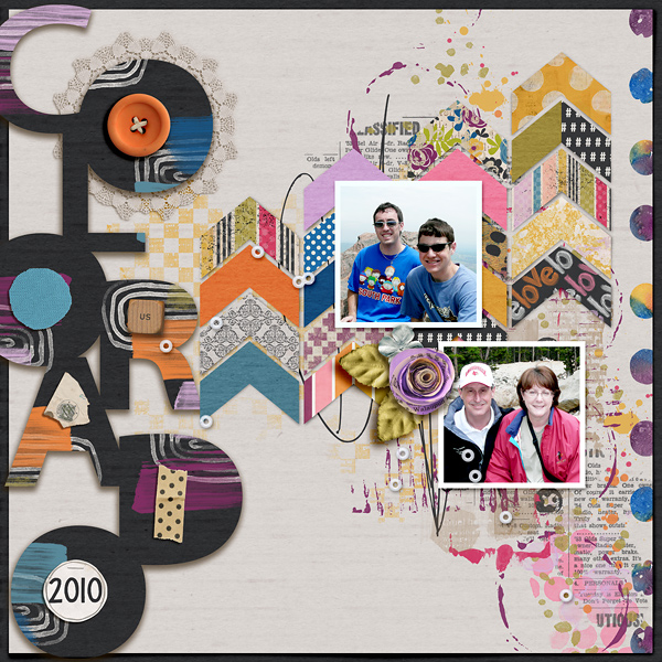 Digital Scrapbook Page using Colorado Cut Outs.