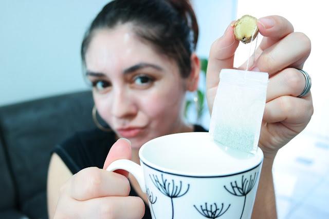 chá verde, antioxidante, pele lisa, sem cravos, gengibre, suco de limão