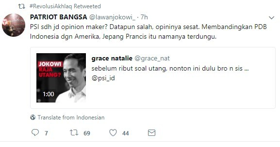 ss psi - Coba Bela Jokowi Soal Hutang, Grace Natalie Terbungkam 'Dihajar' Netizen