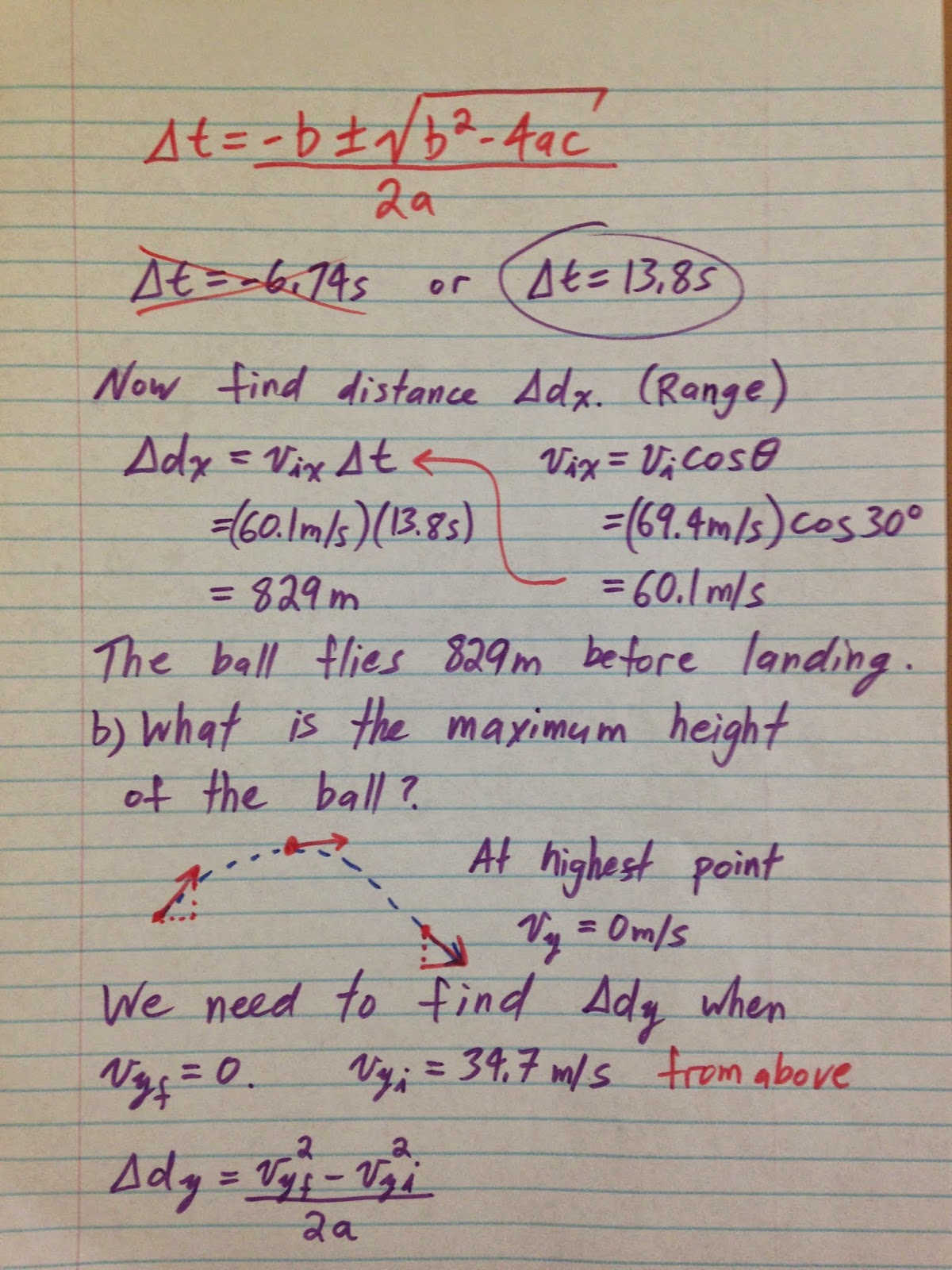 Grade 11 Physics Sept 26 Projectile Motion Problems