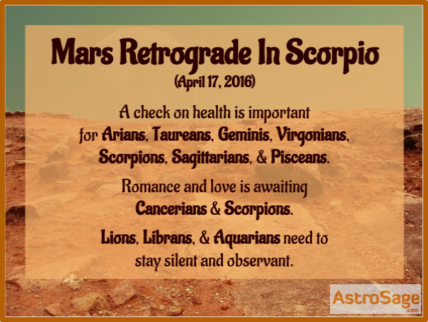 Mars is getting retrograde in Scorpio on April 17, 2016; know how it will affect you.